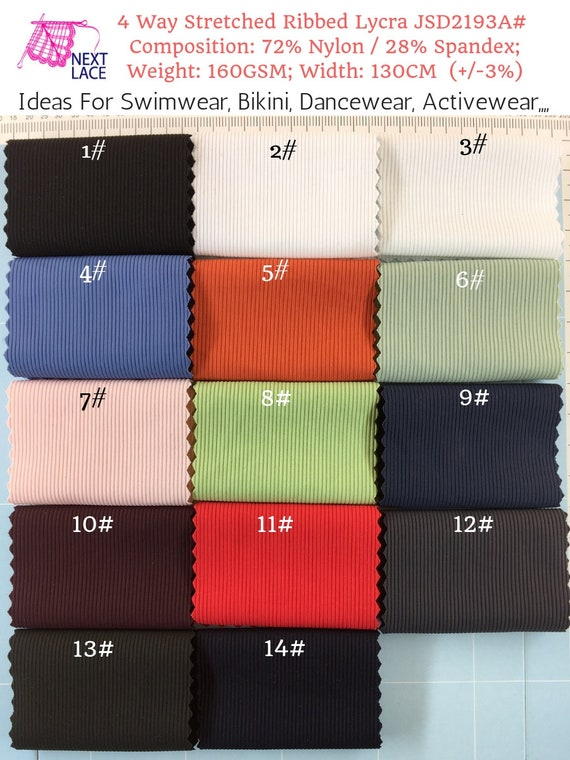 New Texture Lycra 4 Way Stretch Dancewear Sportswear Fabric Material 8 Colours