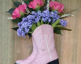 Pink Western Boot Door or Wall Decor