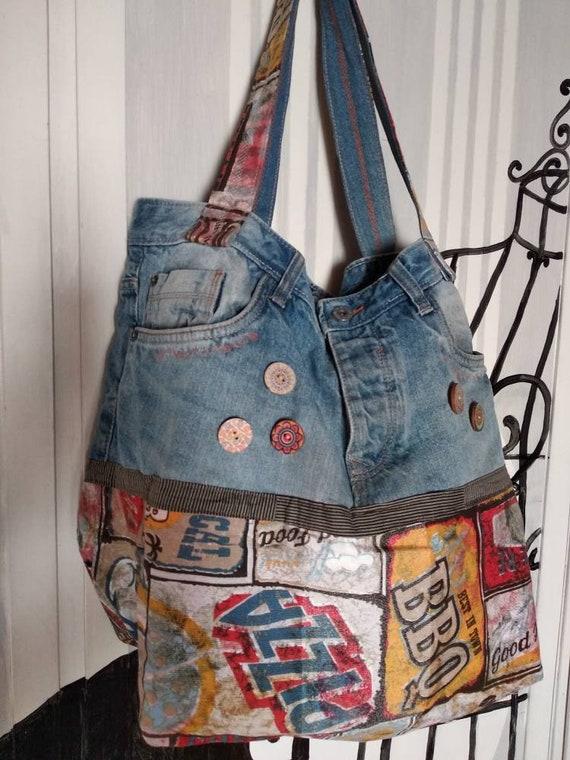 buona consistenza offrire sconti nuovo di zecca Borsa jeans riciclati recicled jeans bag | Etsy