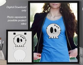 Cute Little Skull Layered Vinyl Decal Cutting Files  - Kawaii Vector, DXF, SVG - Silhouette, Cricut, Decorations