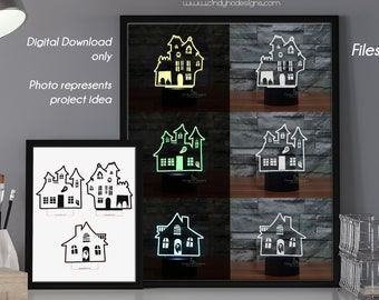 Set of 3 - Cute Spooky Haunted House LED Lamp Plates - Laser Cutting Files-  Instant Download Vector Cut Files