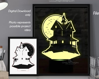 Spooky Haunted House LED Lamp Plate - Laser Cutting Files - Instant Download Vector Cut Files