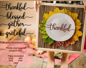 Thanksgiving Blessings - Set of Four - Vinyl Decal Laser Cutting Files  - Vector, DXF, SVG - Silhouette, Cricut, Decorations