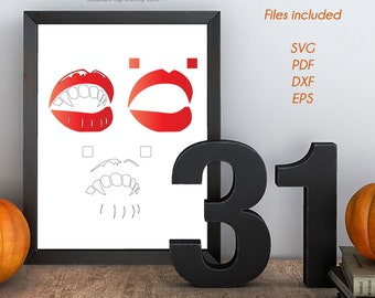 Vampire Lips Layered Vinyl Decal Cutting Files  - Vector, PNG, DXF, SVG - Halloween Silhouette, Cricut, Invitations Decorations