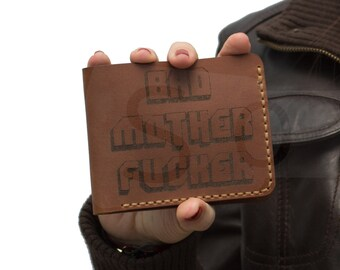 Leather Bad Mother F*cker Wallet Bad Mother Wallet Purse Jules Winnfield Wallet (Pulp Fiction Wallet) BMF With coin pocket