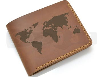 World map wallet etsy mens leather engraved world map wallet personalized custom wallet travel wallet gumiabroncs Images