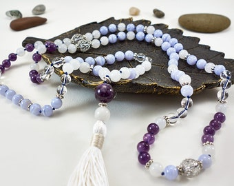 Knotted 108 Blue Lace Agate, White Jade & Amethyst Mala Necklace