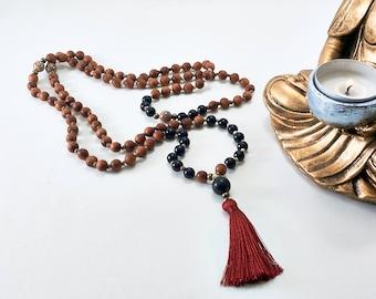Knotted Natural Sandalwood, Ebony Wood & Bodhi Seed 108 Mala Necklace with Tassel