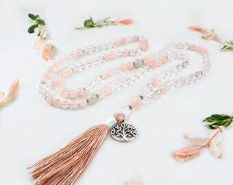 Knotted 108 Clear Quartz & Rose Quartz Mala Necklace w/ Tree of Life Pendant