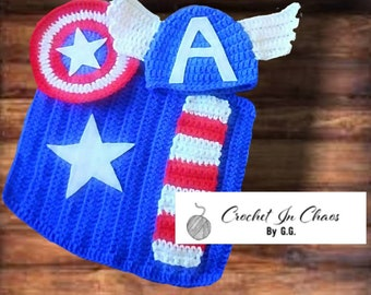 a2c04a55fdbae Avenger s Captain America Inspired Crochet Newborn-3 mo. Infant Set  Superhero  Crocheted Infant Set
