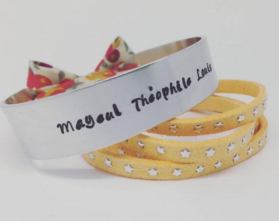MOM gift idea - Custom cuff Liberty of London Wiltshire - silver cuff Bangle with Ribbon