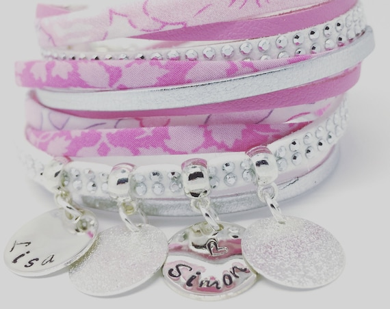 Bracelet names - Custom made jewelry multi strand Liberty Star with 2 custom ENGRAVINGS