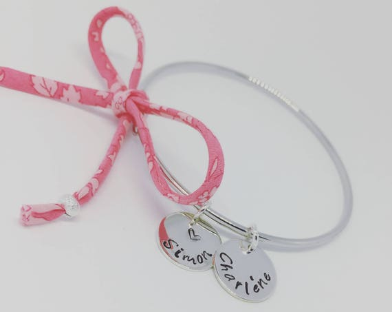 MOTHER's day gift idea - Personalized Bracelet - silver Bangle personalised with custom engraving