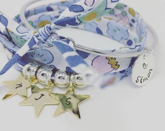 Custom bracelet Liberty of london - my Golden constellation - Bracelet GriGri Liberty XL - 3 prints custom
