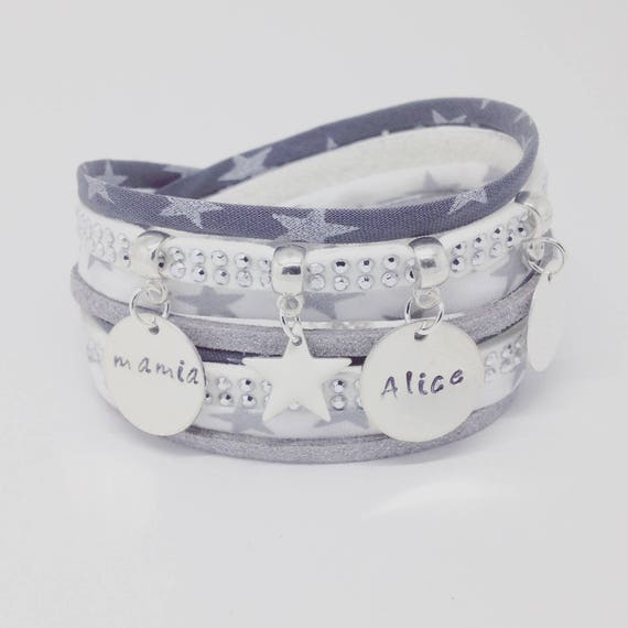 Personalized Bracelet layered with 2 custom ENGRAVINGS by Palilo Liberty Star