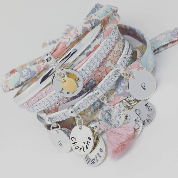 Grigri MOM Liberty of London - Bracelet Liberty with 2 custom ENGRAVINGS