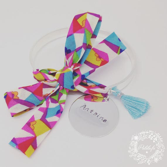 """Cuff Bracelet Bangle by Palilo with his big bow """"Color"""" Liberty, a cute Pompom and his medal with engraving"""