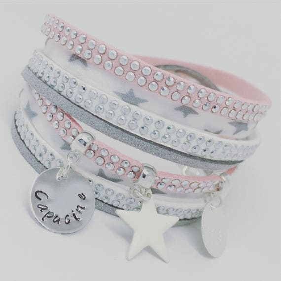 ★ Gift idea woman Personalized Bracelet multi strand Liberty with personalized engraving by Palilo jewelry stars ★