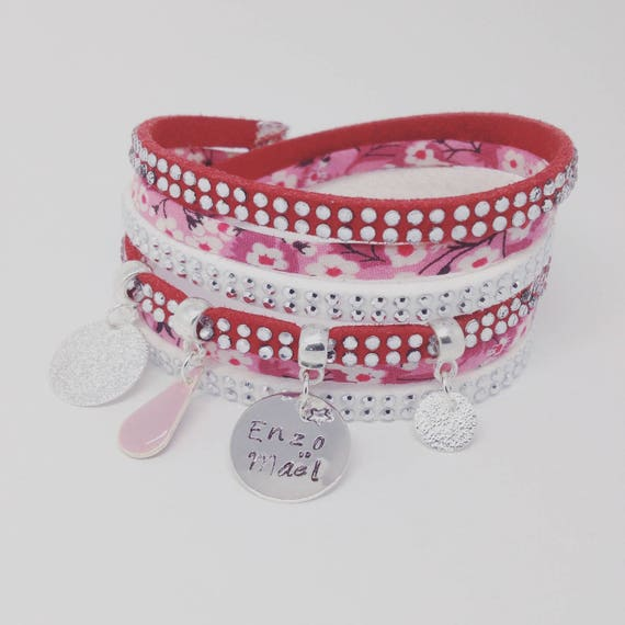 Red multi strand Liberty Mitsy personalized bracelet with personalized engraving by Palilo