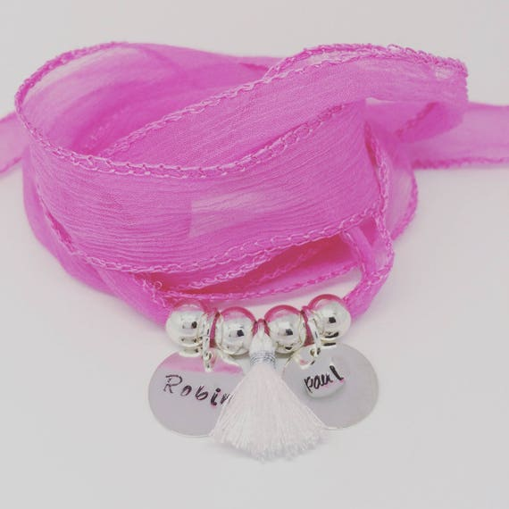 Bracelet GriGri XL soft silk with 2 custom ENGRAVINGS and tassel by Palilo