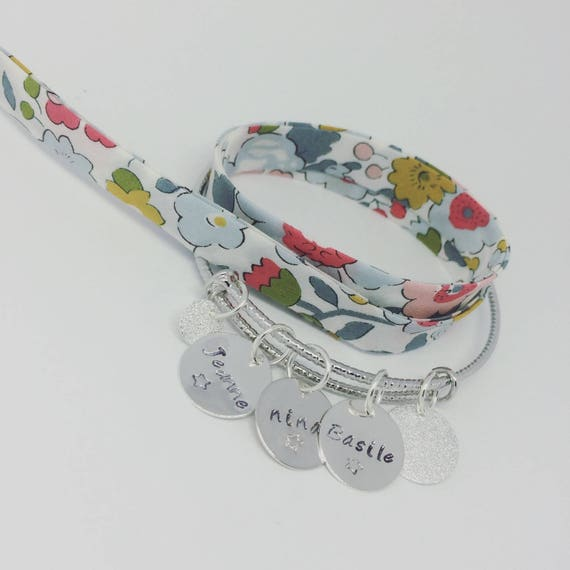 "Bangle personalized shimmering Silver ""SIMPLY"" with 3 prints custom - Palilo jewelry"