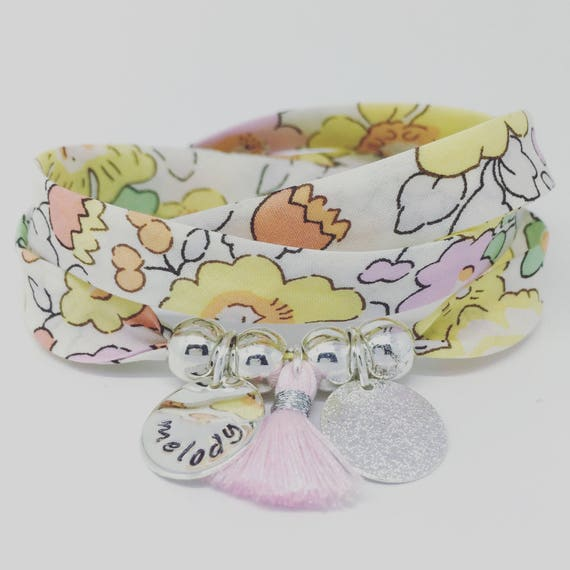 MOTHER's day Liberty Betsy Daffodil yellow - Personalized Bracelet GriGri XL Liberty with custom engraving and tassel by Palilo