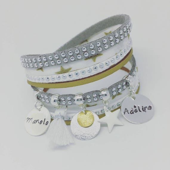 "Personalized Bracelet Liberty multi-row ""Silver & Gold"" with 2 custom ENGRAVINGS by Palilo jewelry"