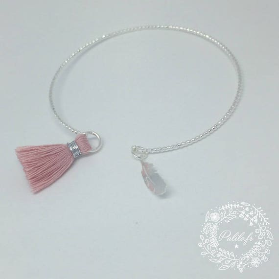 My cute silver Bangle (plated) twist by Palilo jewelry & tassel & feather. Women & teens