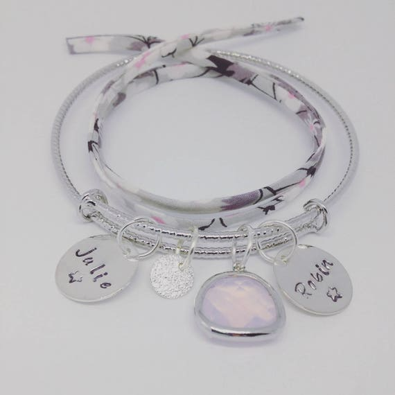 """""""Sparkling"""" Personalized Bracelet with 2 custom ENGRAVINGS by Palilo jewelry"""