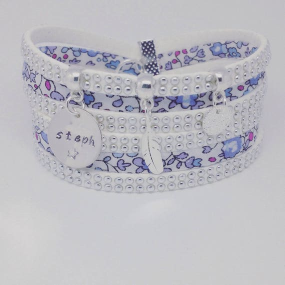 LIBERTY ELOISE * Bracelet personalized multi strand blue Liberty Eloise with personalized engraving by Palilo