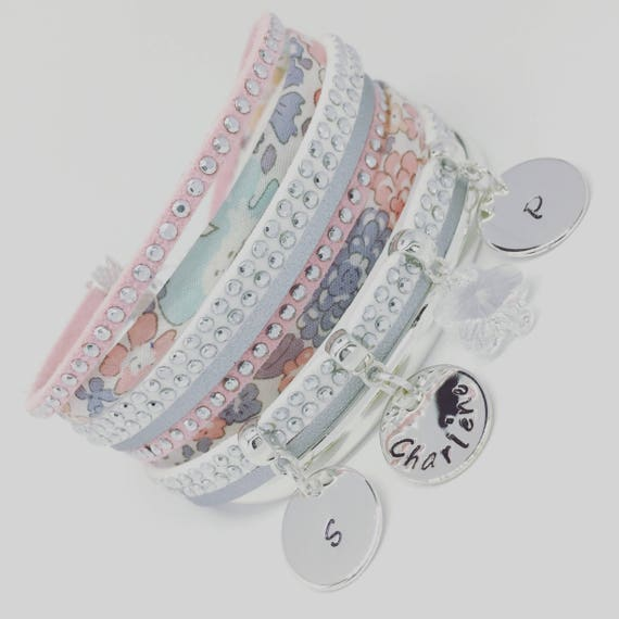 Bracelet Liberty personalized pink powder Liberty of London & Swarovski - 3 prints