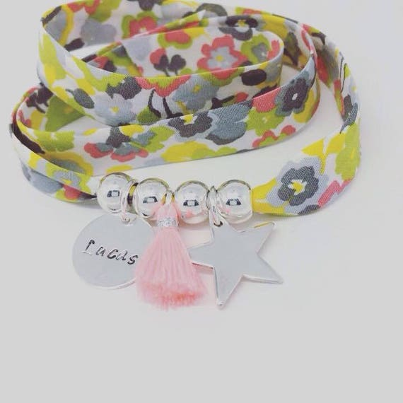 Bracelet GriGri XL Liberty with custom engraving, Silver Star and tassel by Palilo