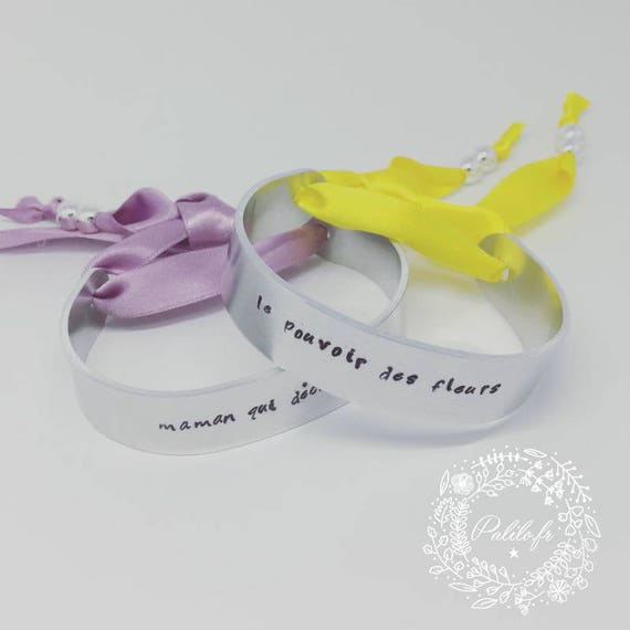 Yellow SATIN with personalized engraving by Palilo Jewelry Silver cuff Bangle Bracelet
