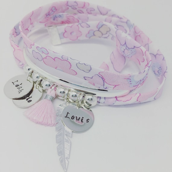Bracelet Liberty BETSY BLOTTER exclusive - GriGri with 3 custom ENGRAVINGS, silver feather and tassel by Palilo XL
