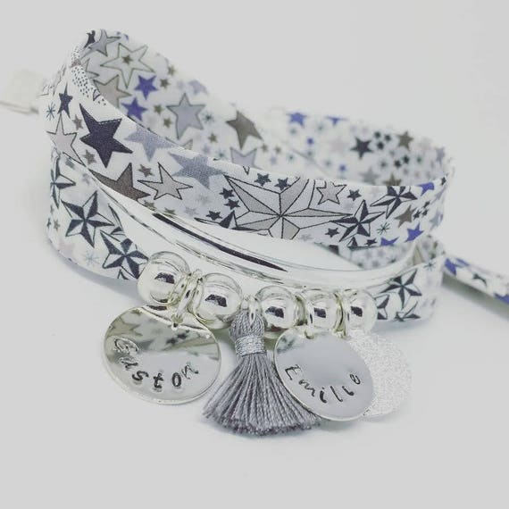 ★ BRACELET LIBERTY Adelajda ★ GriGri XL Liberty Star with 2 custom ENGRAVINGS and tassel by Palilo Personalized Bracelet
