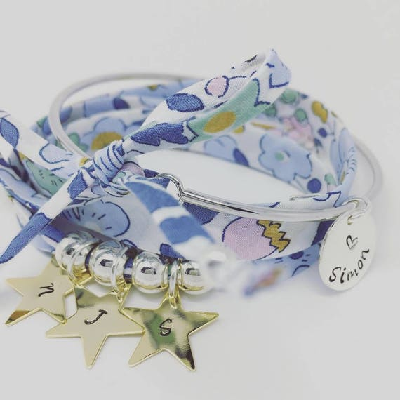 Custom bracelet Liberty of london - my Golden constellation - Bracelet GriGri Liberty XL - 3 prints custom