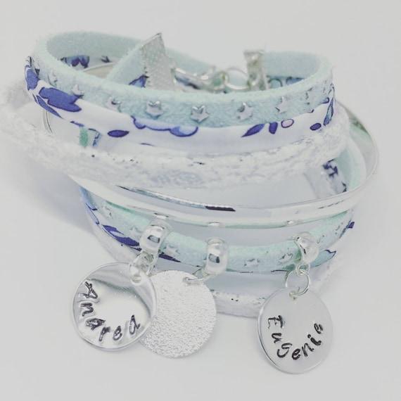★ Personalised ★ Liberty of London Felicite Denim with 2 custom ENGRAVINGS ★ Palilo multi strand Bracelet