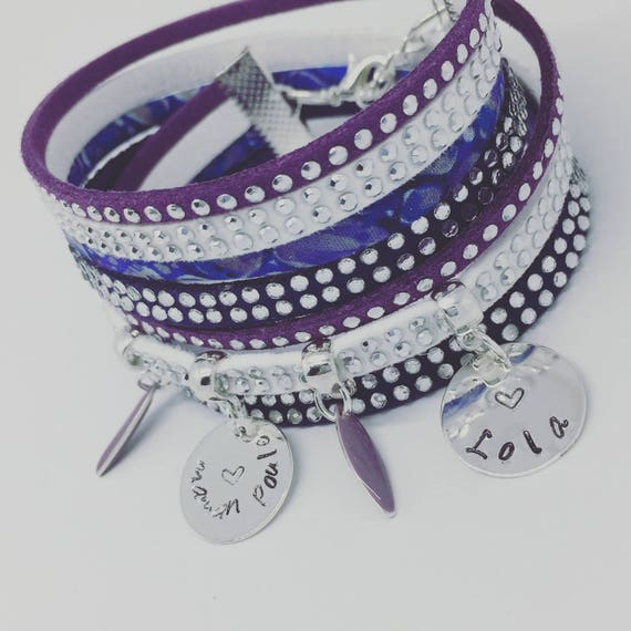 ★ gift idea MOM ★ multi-row Liberty mother hen with 2 custom ENGRAVINGS by Palilo Personalized Bracelet