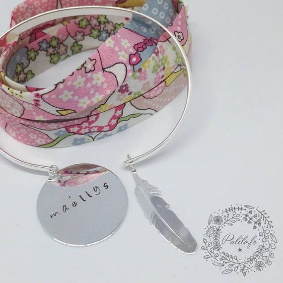 ORDER special PAMELA ★ Bangle Bracelet personalized satin 1 Bangle + optional POMPOM OPTION medal Palilo jewelry ★ ★
