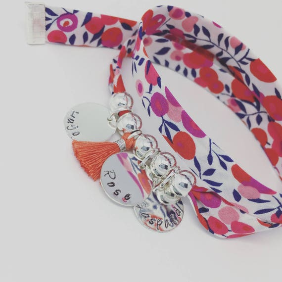 BRACELET LIBERTY WILTSHIRE name * Bracelet GriGri Liberty with 3 custom ENGRAVINGS and tassel by Palilo XL