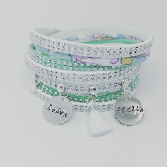 Liberty of London Celadon * Bracelet personalized Liberty multi strand with 2 custom ENGRAVINGS by Palilo jewelry