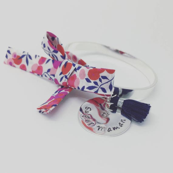 Personalized Bracelet Bangle cuff by Palilo with its Liberty bow, a cute Pompom and his medal with engraving