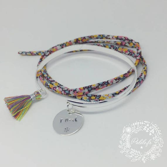 Silver Bangle Bracelet plated with engraving personalized star tassel Bangle multicolor by Palilo jewelry