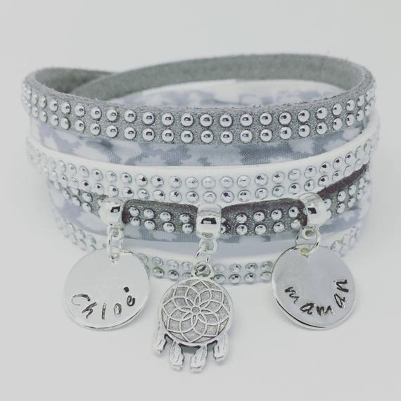 ★ ★ multi strand grey Liberty with 2 custom ENGRAVINGS by Palilo DREAMCATCHER custom Bracelet