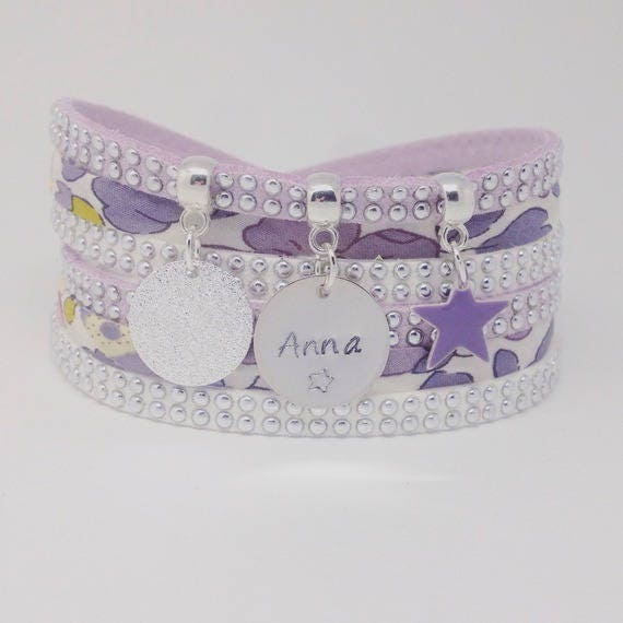 Personalized Bracelet multi strand purple Liberty with personalized engraving by Palilo