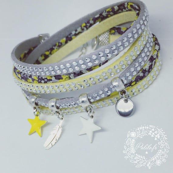 "Multi-row bracelet liberty Pepper ""My Bright Star feather"" by Palilo jewelry"