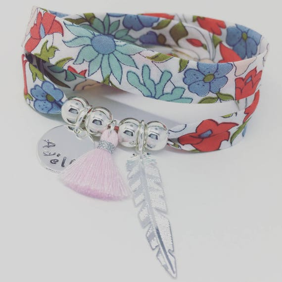Bracelet Liberty Poppy And Daisy - GriGri XL with 1 custom engraving, silver feather and tassel by Palilo