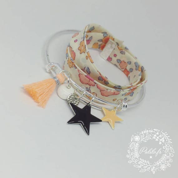 """Silver Bangle """"Hello love"""" by Palilo (tassel, charms and silver colored) apricot, black and white"""