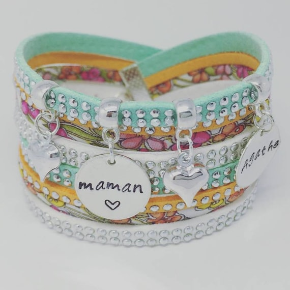Nanny gift - MOM * Bracelet personalized Liberty multi strand with 2 custom ENGRAVINGS by Palilo jewelry