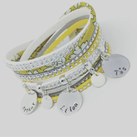 Personalized Bracelet layered with 3 prints custom by Palilo Liberty yellow mustard